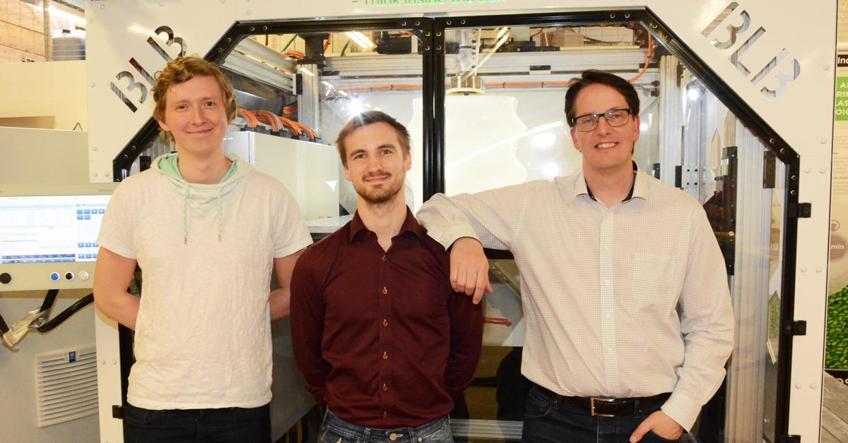 Jacob Lundin, Cim Bergdahl och Thomas Burdal på BLB Industries.